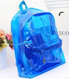 2016 New Fashion Women Transparent Backpack Clear Plastic Backpack Bookbag Travel Bag