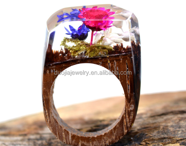 Handmade Wooden Resin Ring with Magnificent Tiny Fantasy Flower Secret Landscape Jewelry Wholesale