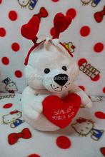 plush Valentine day toys red heart white seal