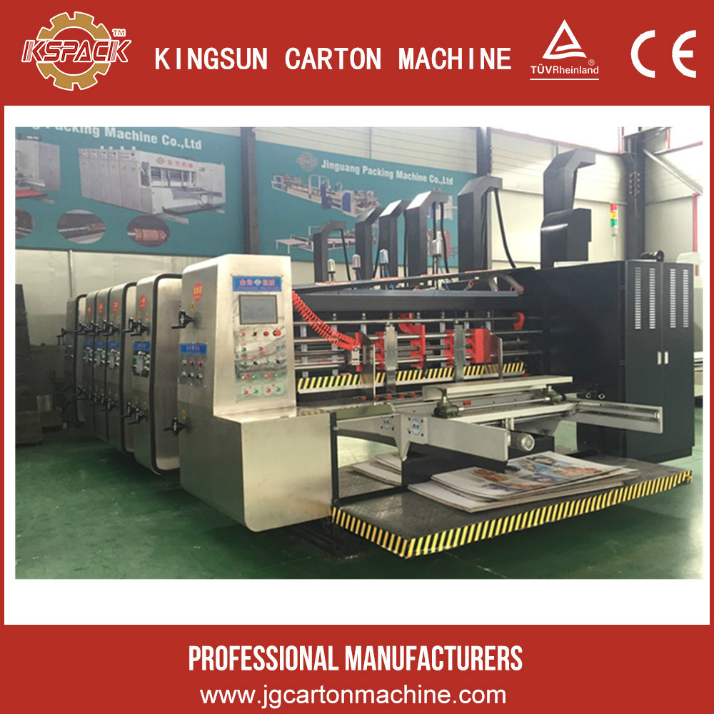 Latest product automatic corrugated paperboard flexo 5 color printing & slotting & die cutting machine