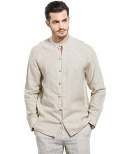 Men summer casual shirt long sleeve chinese collar comfortable 100%linen shirt