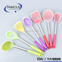 hot sale colorful silicone kitchen utensil 7 pcs set with pp handle