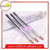 Acrylic Handle Beauty Nail Art Brush Pure Color Nylon Art Pen Set Synthetic Hair