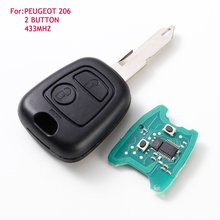 2 Button Remote Key 433mhz fit for PEUGEOT 206 205 405 106 Key