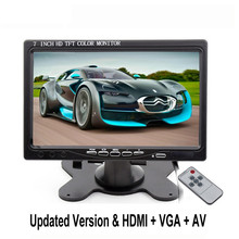3U-80131 7 Inch TFT LCD Color Car Monitor 2 Video Input PC Audio Video Display HDMI AV Input Security Monitor Screen Car-styling