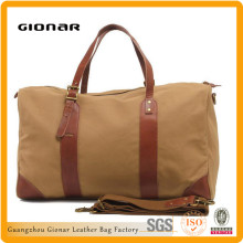 24-Inch Brown Leather Canvas Lightweight Travel Duffle Tote Bag Luggage Bag Manufacturers