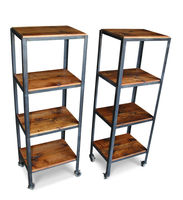 Petite rolling shelving carts made with reclaimed wood