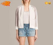 2017 Custom Wholesale Women Striped Leather Bomber Jacket With Pockets