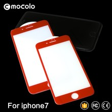Mocolo Hot Sale 9H Tempered Glass China Red For Iphone 7/7Plus 3D Full Cover Screen Protector