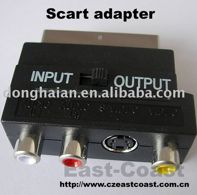 scart adapter,scart to rca jack+s-vhs jack+switch