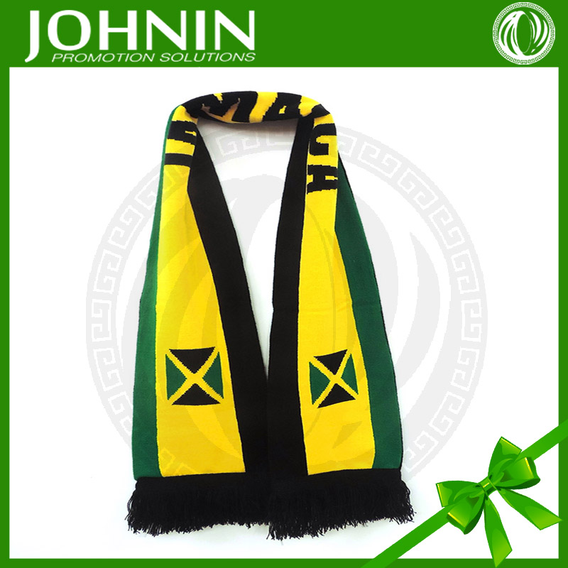 OEM knitted polyester JOHNIN brand Shaoxing Textile Jamaican Knitted Soft Scarf