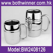 Insulated double wall cup with silicone lid ,H0T277 carabiner stainless steel travel mugs for sale