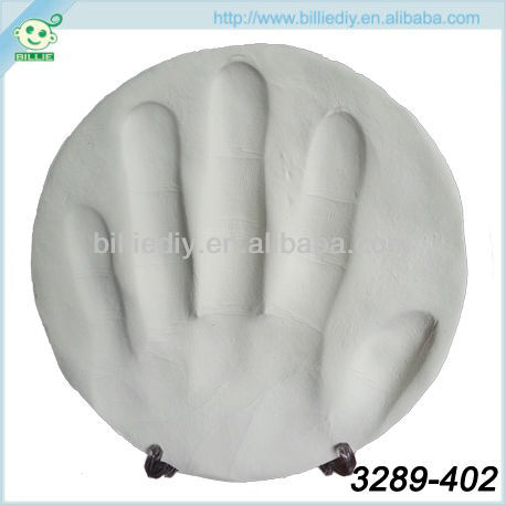 White Air Dry Baby Hand Print Kit with Plastic transparent Stander