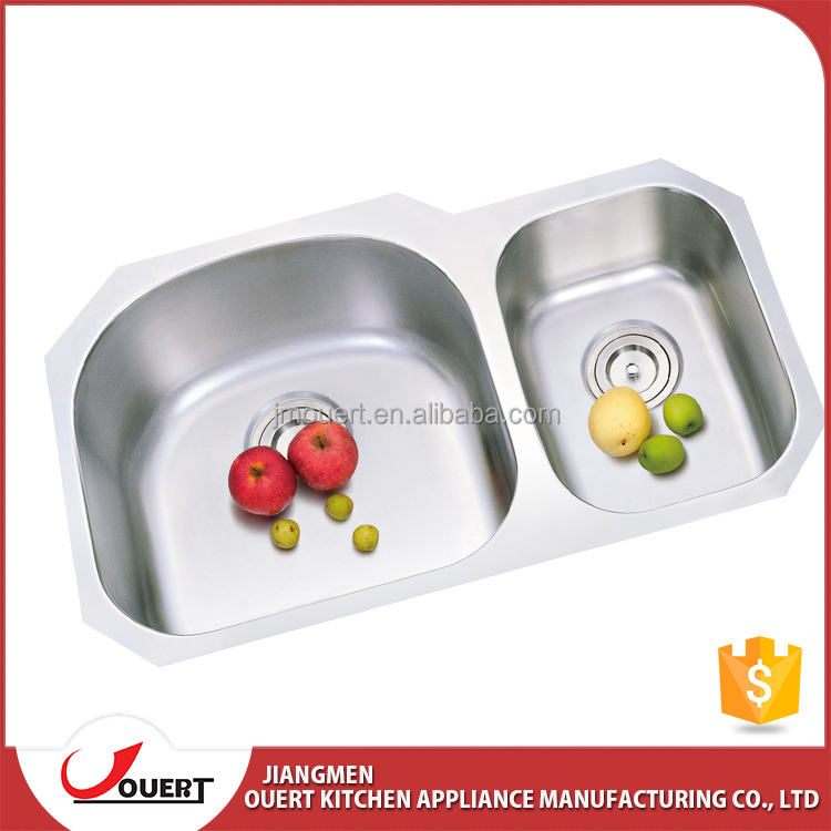 Double bowl used commercial stainless steel cheap kitchen sink