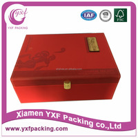 red elegant noble high end gift box with lock