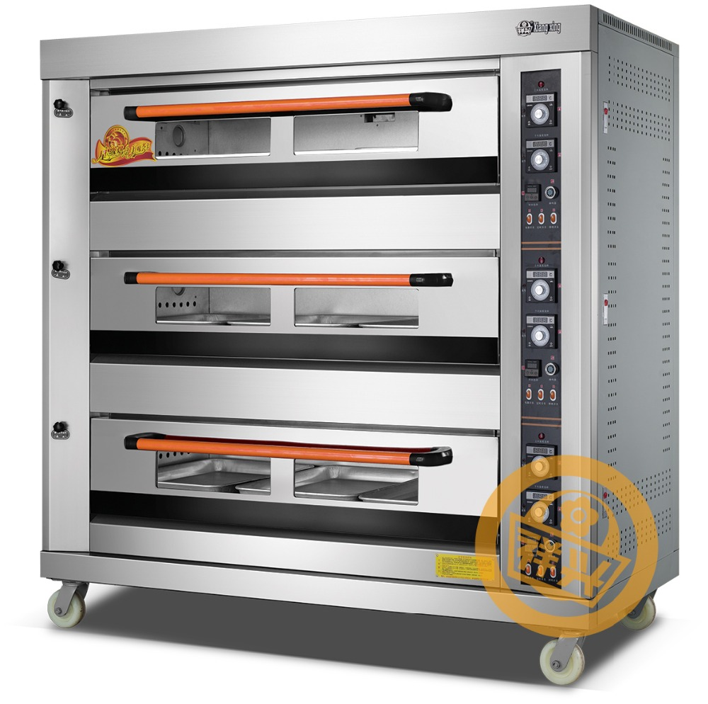 Reliable manufacturer of bakery equipment offers highly efficient bread baking oven run by gas capacity three decks nine trays