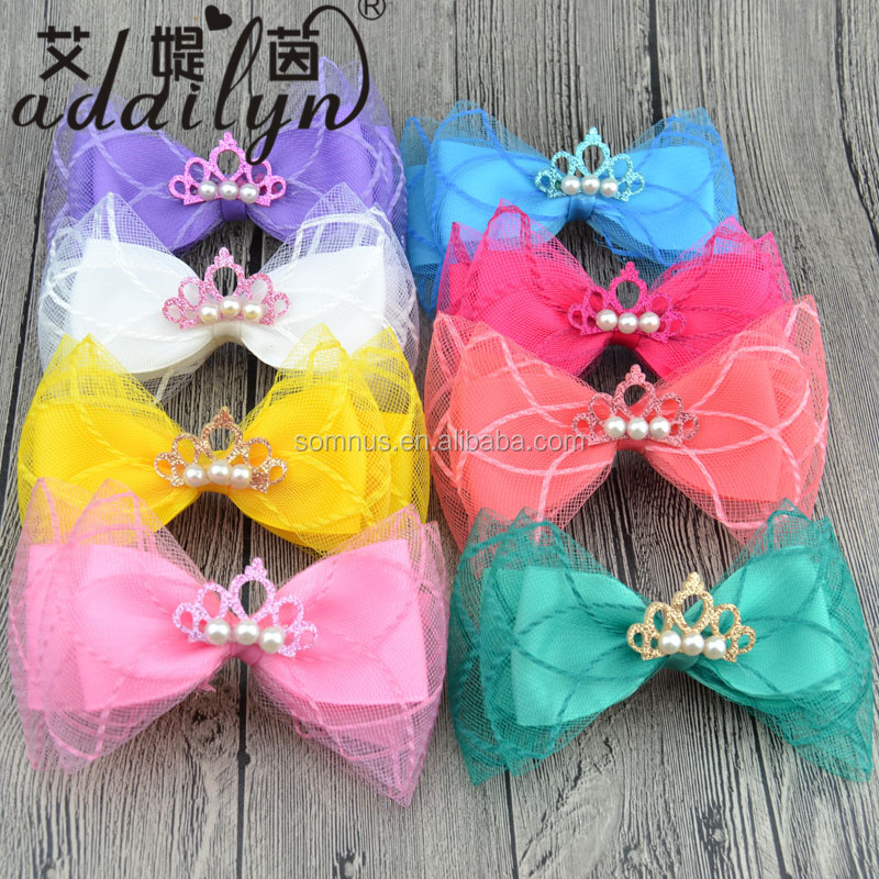 Cute Customized Child Gauze Hair Bows with Clips Little Crown and Pearl B49