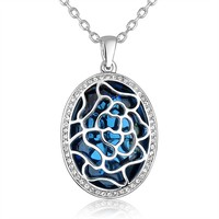 wholesale heart of the Ocean big blue crystal diamond pendant gold stud stainless steel necklace