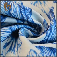 2016 new designer blue flower printing fabric cotton linen fabric for clothing