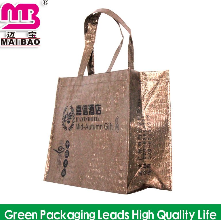Textile custom exquisite printing laminated non woven foldable shopping bags recyclable