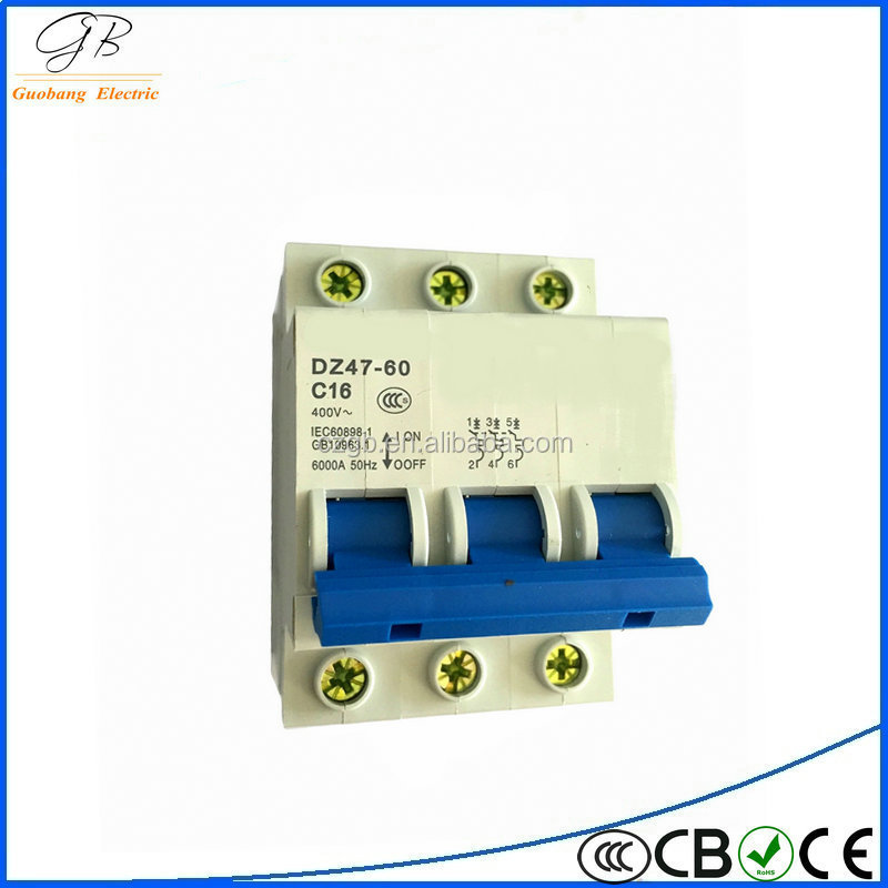 3p 2015 double pole mcb DZ47-60 miniature circuit breaker / mcb