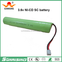 ni-cd sc 1300mah 3.6v rechargeable battery/sc 1300mah nicd battery pack