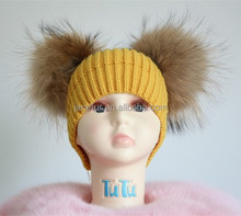 Trendy New Style Knitting Winter Warmer Baby Hat And Cap With Two Plush Raccoon Fur Pompoms Boys and Girls