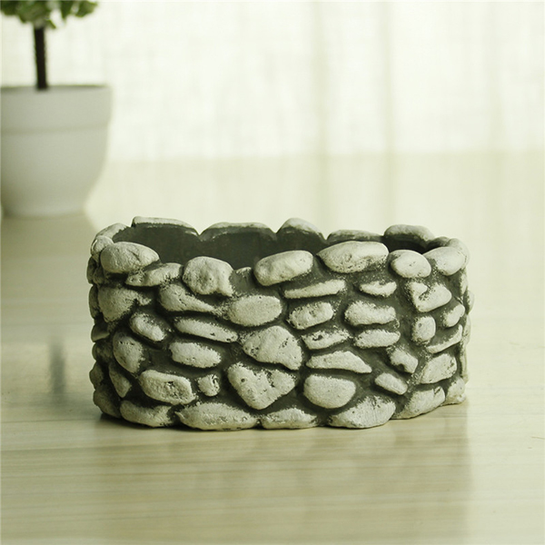 Different cement cobble garden planter craft gift cheap small flower pots