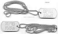 custom aluminium metal military dog tag with necklace