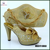 MS3171 GOLD Italy style design shoes matching bags in gold color