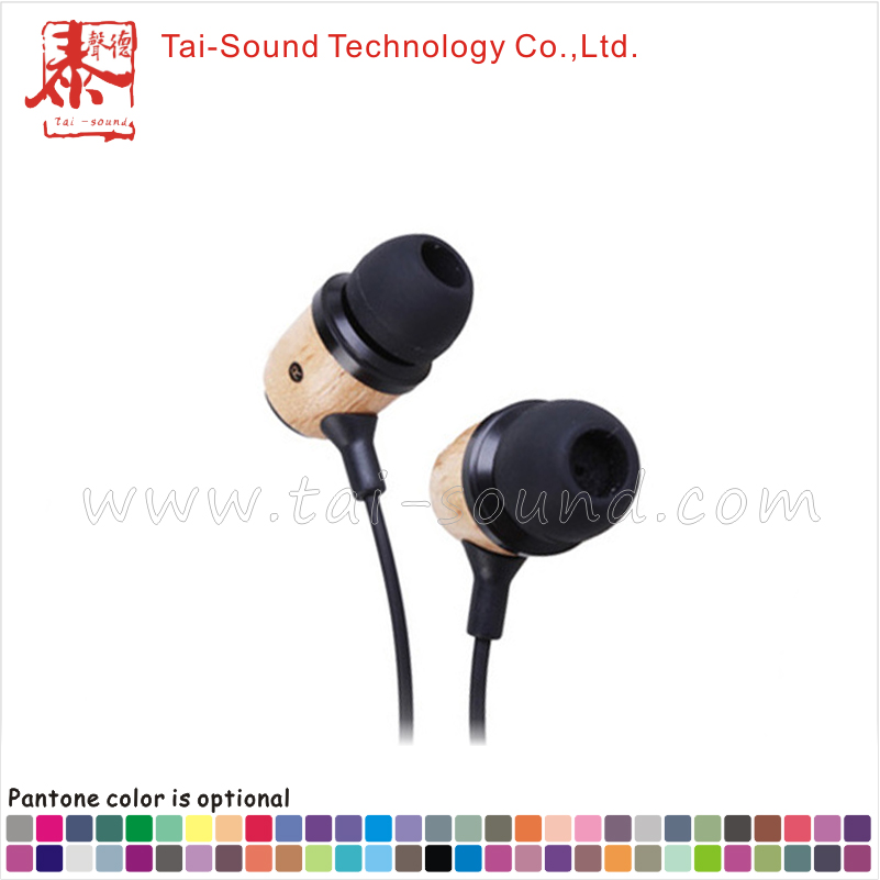 New model flat cable in-ear wood earphone with mic for smart phones
