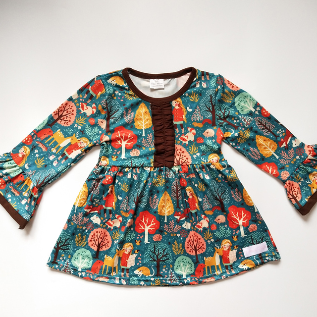 New frock design children's Christmas clothes wholesale boutique fall dresses for baby girls