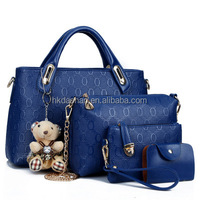 2015 new product welcomed leather women handbag 4pcs set wholesale Made in China supplier