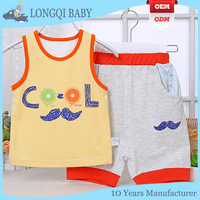 beautiful baby summer sleeveless suits, children clothing sets,boy and girl wear good breathable clothes