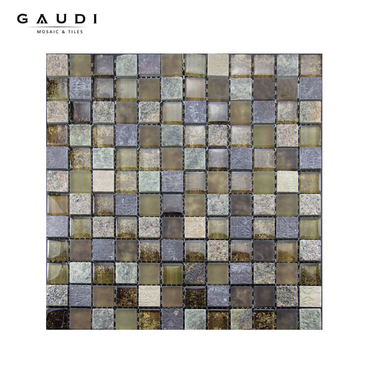 2016 hot sale resin glass and stone mosaic wall tiles