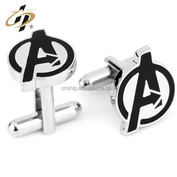 Custom brass silver hard enamel metal letter cuff links for man
