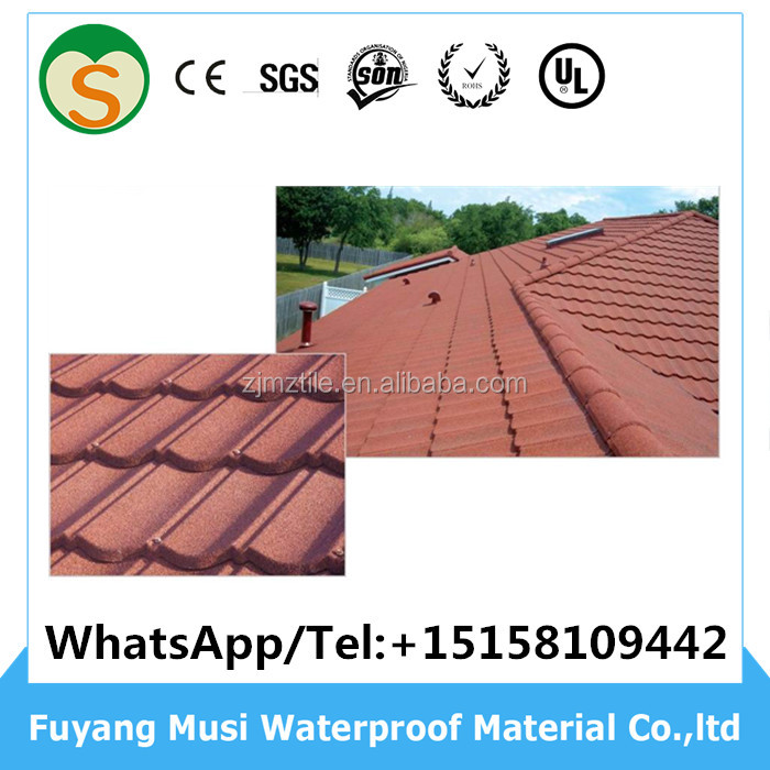 Natural well quality colorful stone coated metal roofing tile