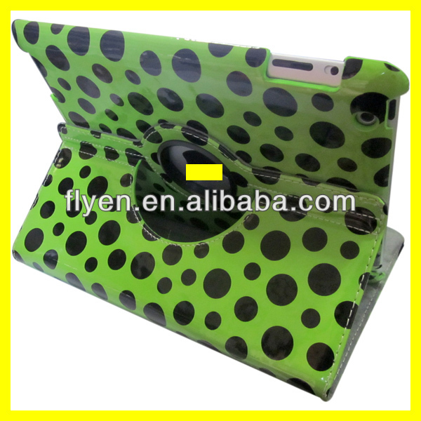 360 rotating magnetic polka dot fabric leather case for ipad 4 ipad 3 ipad 2 smart cover best wholesale