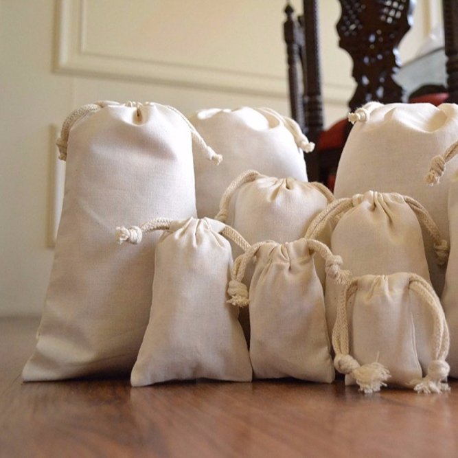100% Organic Natural Cotton Double Drawstring Muslin Bag For Gift Packing
