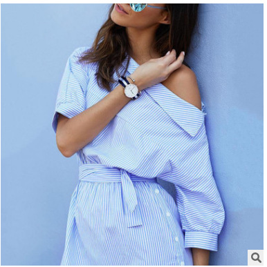 B21475A Hot sale Europe women Striped with belts one shoulder shirt dress