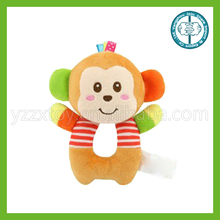 Animal soft plush baby rattle toy infant ring rattle toy