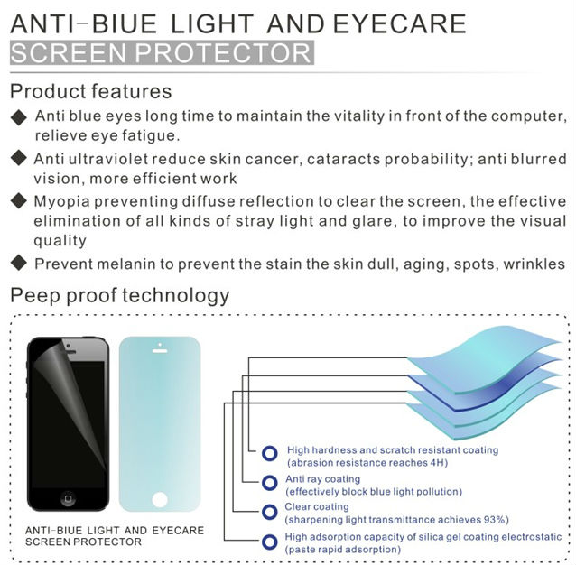 Best seller! Professional anti uv anti-blue light screen guard for hot mobile phone models lcd screen protector