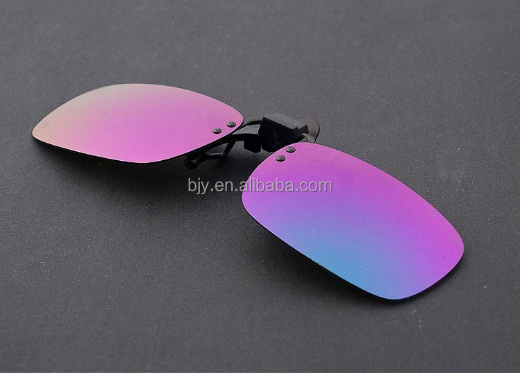 care eyes and traveling driving ocular purple PC coating square Lens flip up sunglasses clip on myopia glasses