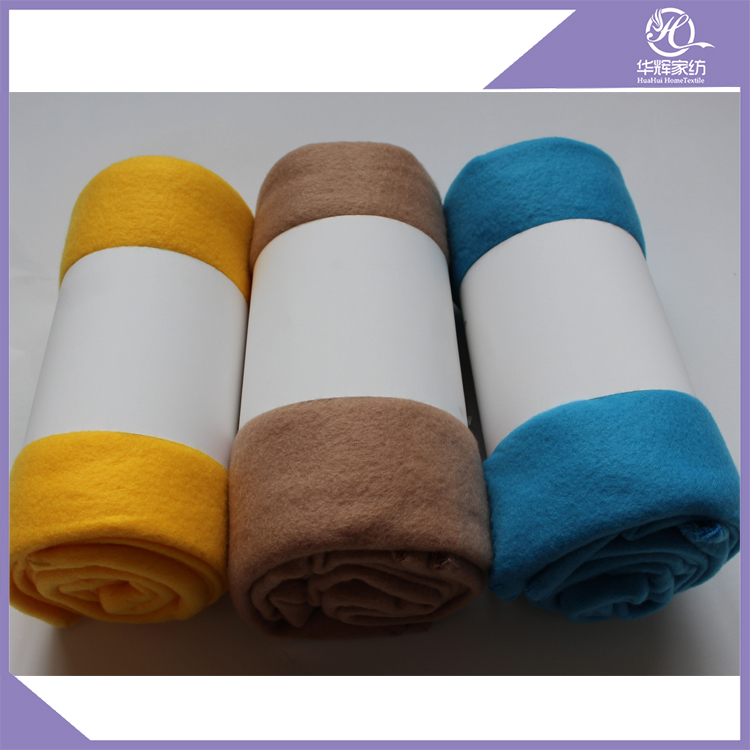 Cheap solid colour 100% polyester polar fleece throw blanket