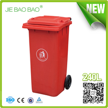 JIE BAOBAO!FACTORY MADE OPEN TOP RED UNBREAKABLE PLASTIC 240L OUTDOOR RECYCLE BIN COLOR CODED