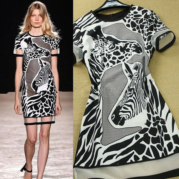 Guangzhou Manufacutre Zebra Print Contrast Collar Runway Simple Long Casual Dress