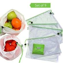 Wholesale washable foldable mesh produce bag, reusable vegetable fruit net bag