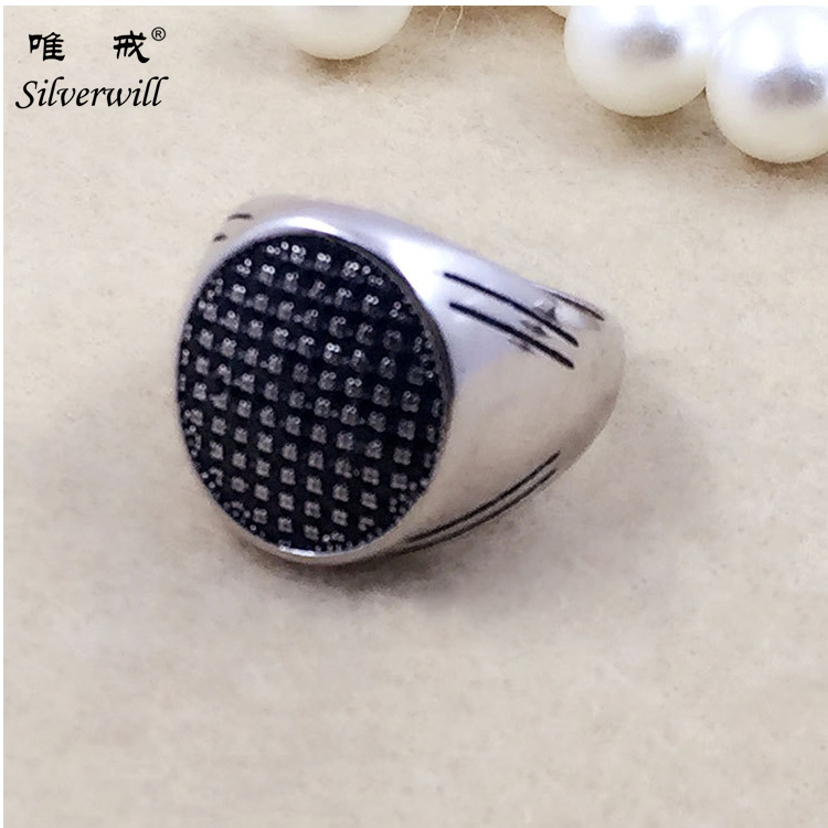 China jewelry manufacturer 925 Tai silver jewelry micro pave ring men