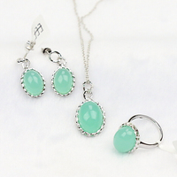 Costume S925 sterling silver cat's eye beads stone jewelry set