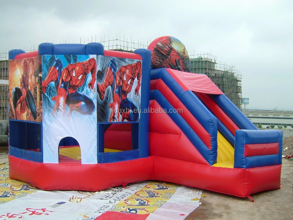 inflatable spider-man cartoon theme castle inflatable bounce houses bouncers, inflatable slides